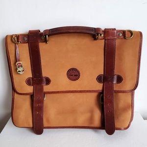 TIMBERLAND Cognac Leather Briefcase Messenger Bag